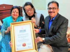 Legendary Actor Manoj Kumar Felicitated by World Book of Records- London